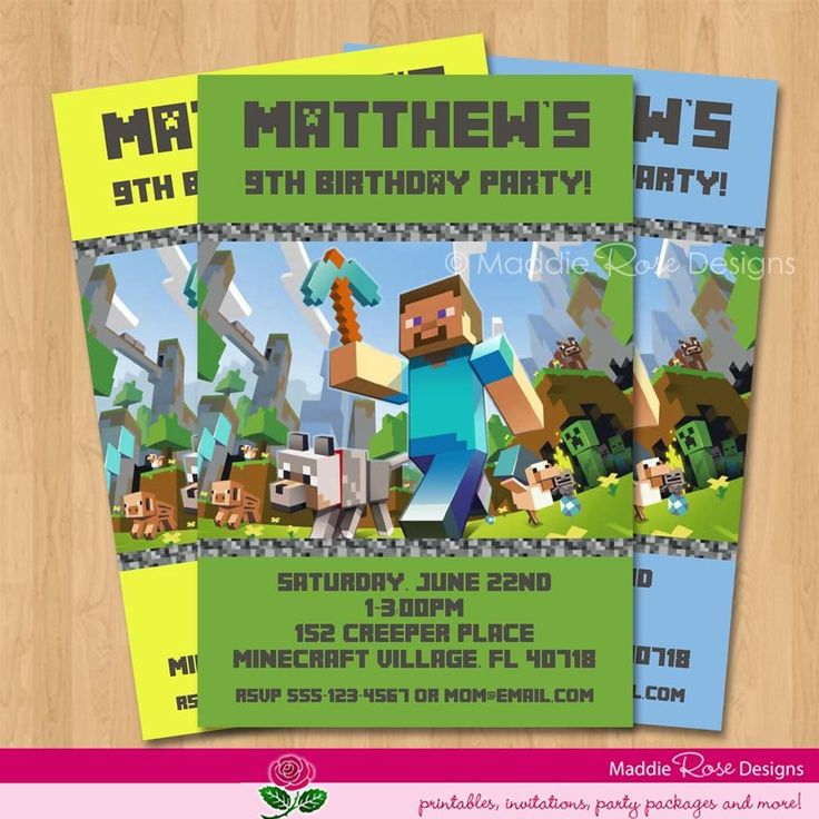 Free Printable Minecraft Birthday Invitations cakepins.com