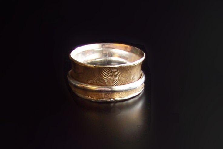 Wide Band, Spinner Ring, .925 Sterling Silver and Brass Band, Stress Ring, Worry Ring, Wedding Band, Silver and Gold in color, STERLING SILVER spinner ring, Fidget Ring, Artisan Ring, Anxiety Ring, meditation ring This ring is made with sterling silver against skin, textured brass and silver free spinning ring.