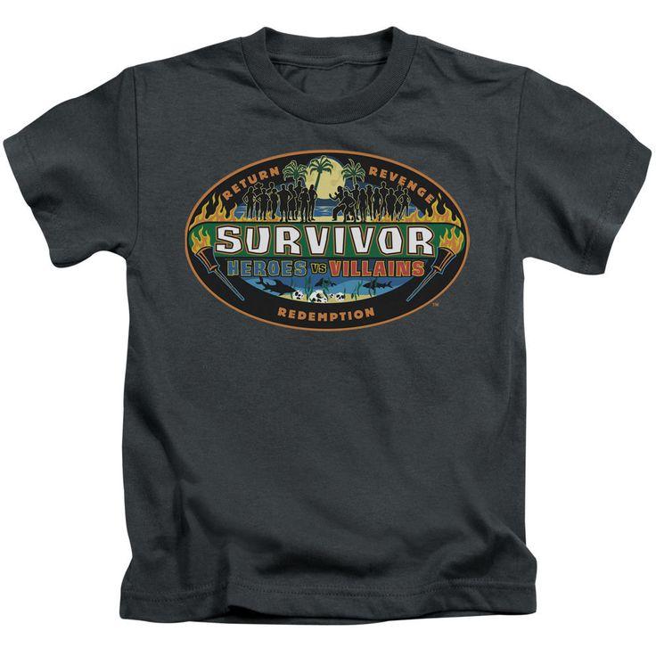 Survivor Heroes vs. Villains Charcoal Kids T-Shirt