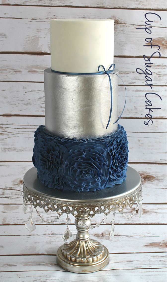 Navy blue ruffle roses with Evil Cake Genius silver metallic luster wedding cake by Cup of Sugar Cakes