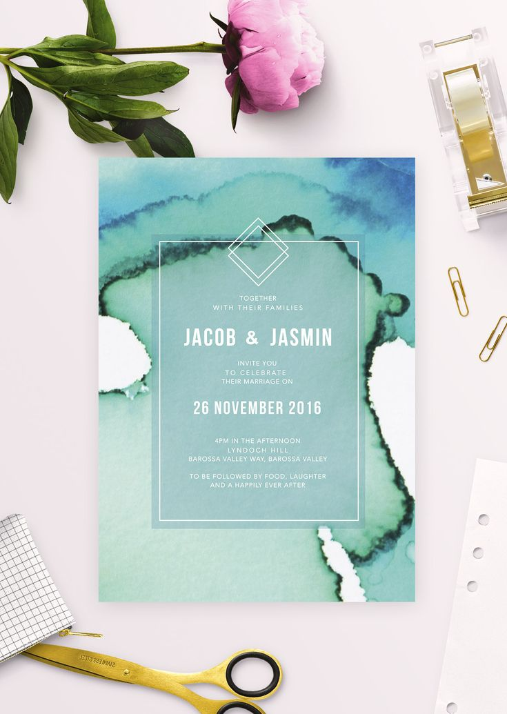 beach wedding invitation examples%0A Beach Wedding Watercolour Wash Blue Turquoise Green Abstract Modern Wedding  Invitations Wedding Invitations by Sail and