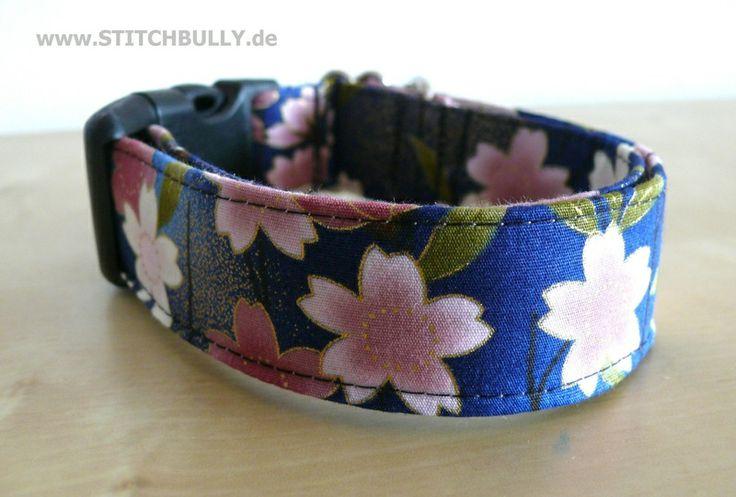Halsband Gassi Hund japanische Kirschblüten XL von stitchbully.de auf DaWanda.com