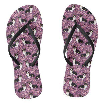 #Tri Colored Corgi Cherry Blossoms - purple Flip Flops - #womens #shoes #womensshoes #custom #cool