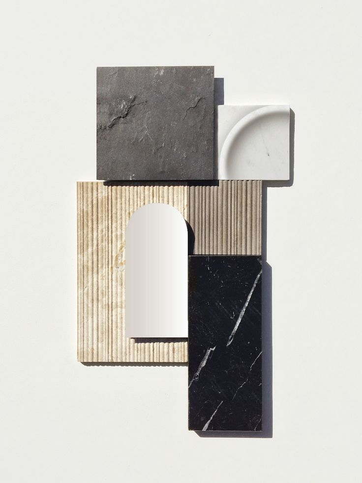 Lievore Altherr — NEW PROJECTS MILANO 2017 - Roma collection for Noorth. Material Moodboard combining different tactile qualities such as a matte sandstone texture, a slightly irregular vertical lined texture, and a rough texture reminiscent of old stone floors.