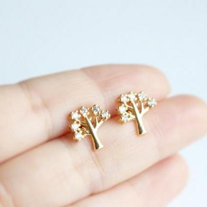 Zircon Tree stud earrings in gold, ..