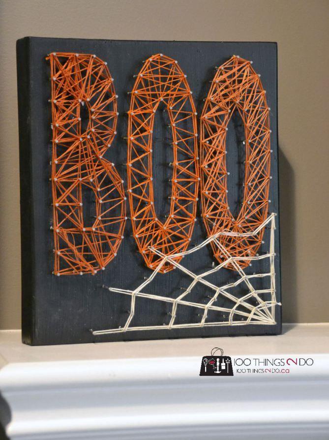 String art, Hallowe'en, Boo, Halloweendecor.  Easy craft that the kids can make too!