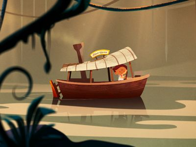 jungle river raft boat ride illustration