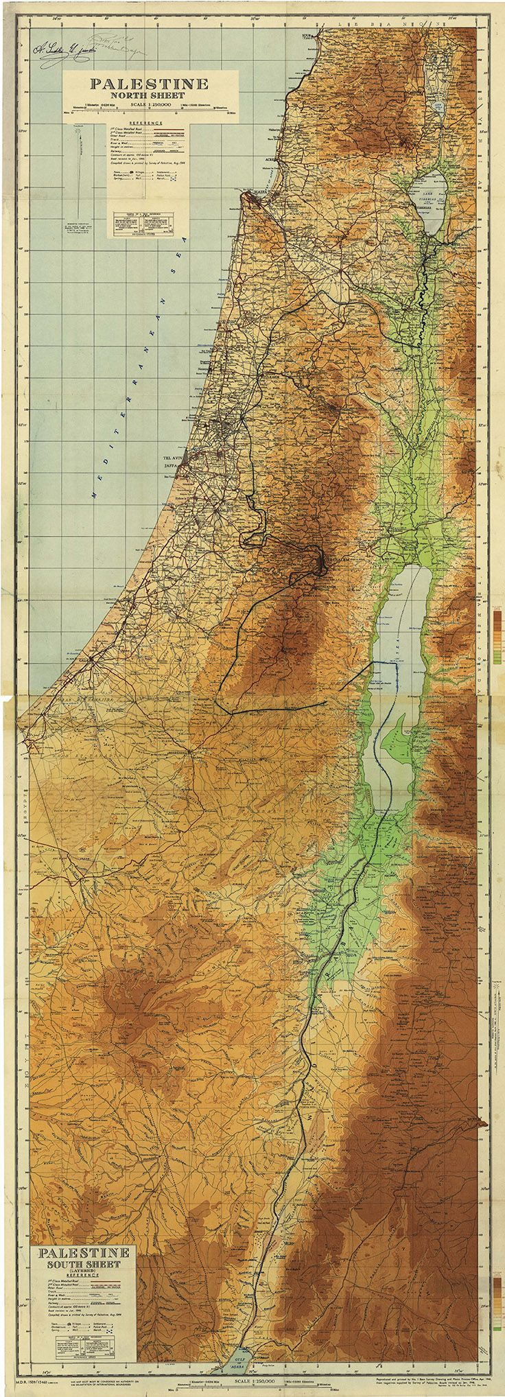 """Palestine 1946 map: Palestine before Israeli 1948 Al Nabka confiscation of land - very rare map gem (despite upper L corner signature by Moshe Dayan!) • 4.4MB 250dpi 87x32cm 34.5x12.5"""" 8630x3120px (link since Pinterest allows max 736px w) • ©1946-04 Base Survey Drawing & Photo Process Office • map: http://www.palestineremembered.com/Acre/Maps/Story582.html • Moshe (1915-1981 born from Ukrainian immigrants; Israeli Min. of Def. 1967-74 incl. 6-Day War)…"""