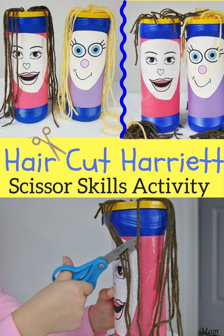 Meet haircut Harriett! Endless hours of haircut fun while working on those scissor skills!#scissorskills #preschool #kindergarten #finemotor #haircut #letterH #lays
