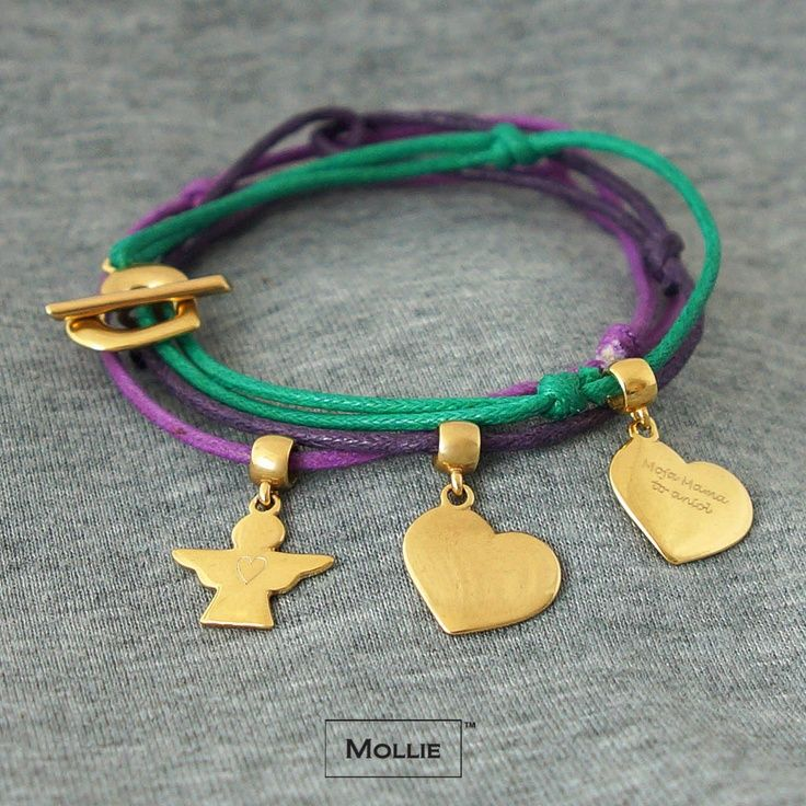 My mum is the angel - bracelet set - thin cords with angel and hearts charms and buckle made of silver 925, covered 18k gold / designed and produced in Poland