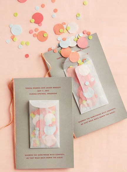Confetti packet for the send off on the front of the wedding program