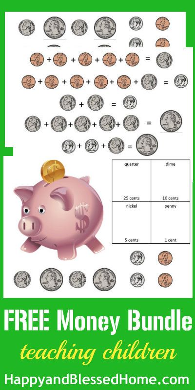 Free Printable Worksheets to help teach children how to count money from HappyandBlessedHome.com