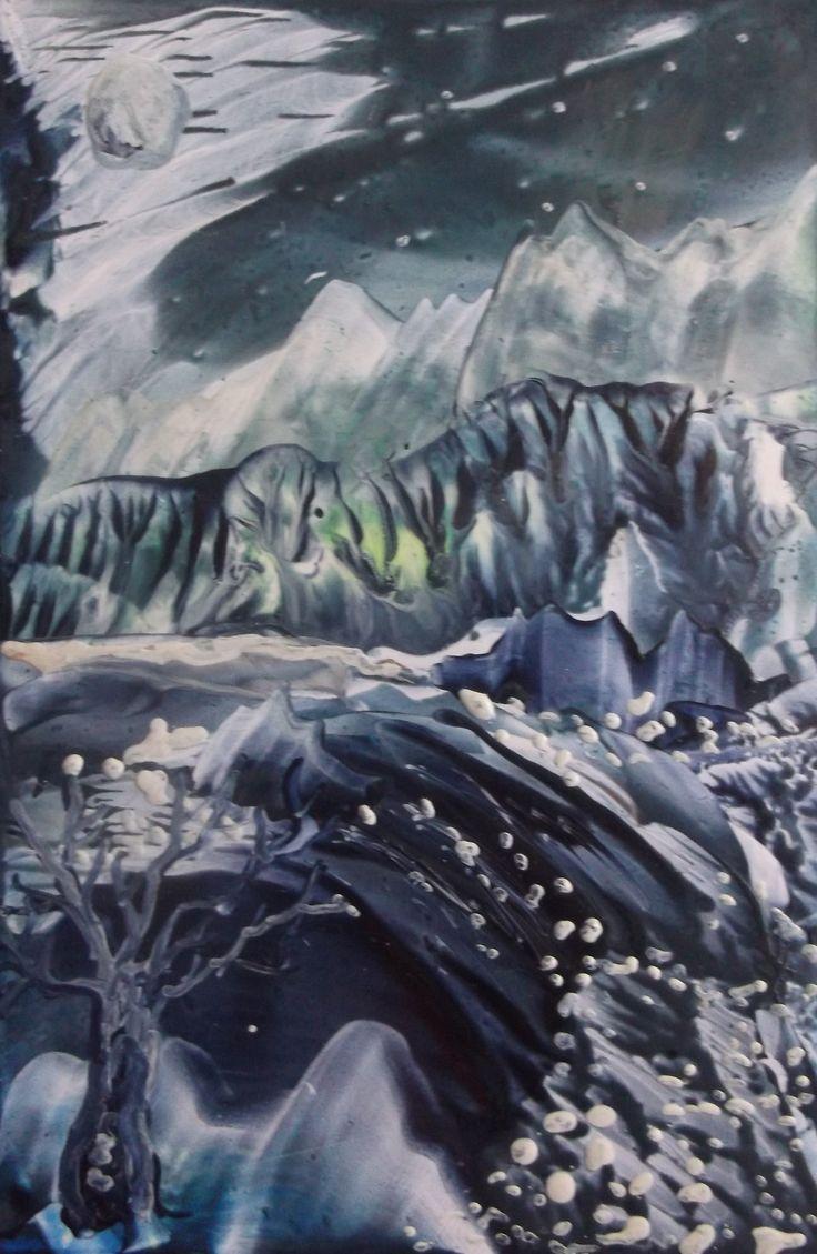 monochromatic mountain river   4x6 inches