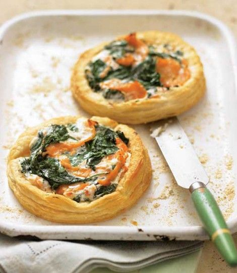 Delicious Magazine - Salmon, Spinach and Cream Cheese Tarts