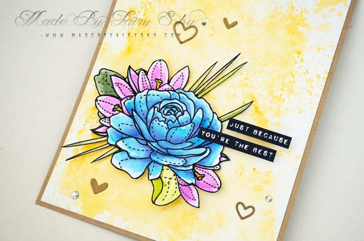 Best Mom  ·•●★ Made By Fairy Sky ★●•·  www.madebyfairysky.com/blog/?p= 10196  #mbfairysky #mbfscardmaking  Cardmaking, Coloring, Dies Cutting, Embossing, Distress Inks, Mama Elephant, MBFairySky, Ranger, Simon Says Stamp, Tim Holtz, Tombow USA