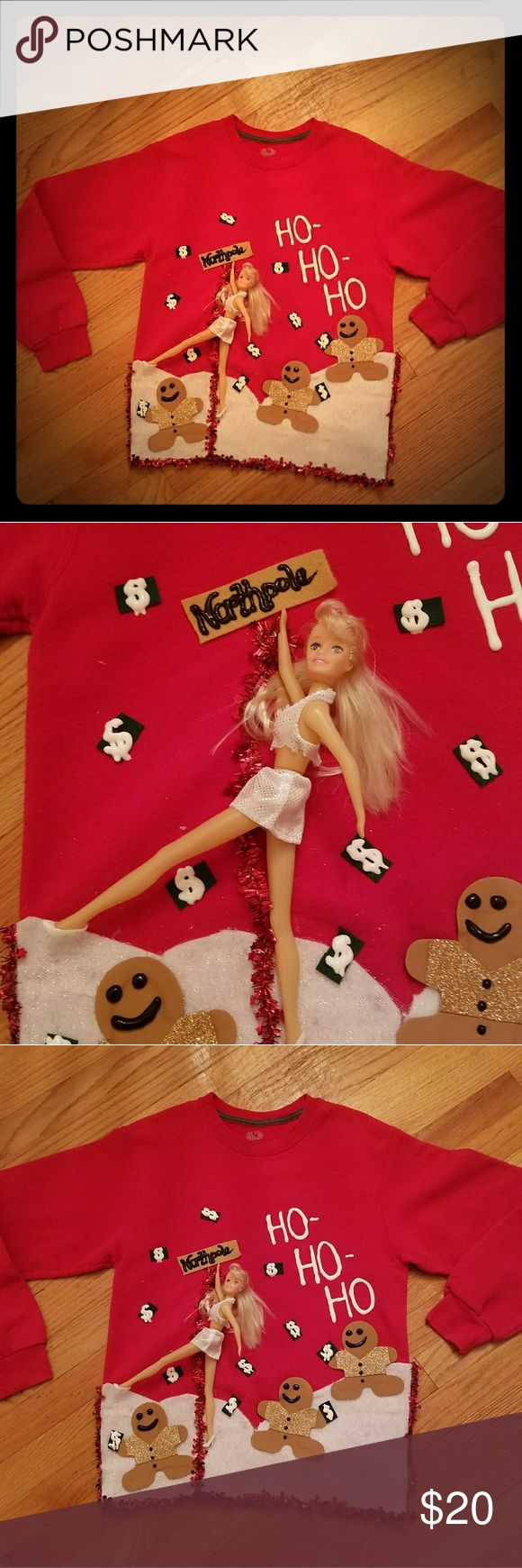 Ho Ho Ho Ugly Christmas Sweater Handmade ugly Christmas sweaters. Red sweatshirt with Barbie and gingerbread cookies. Super fun ugly sweater to stand out at any party. You can make requests just drop a comment Sweaters