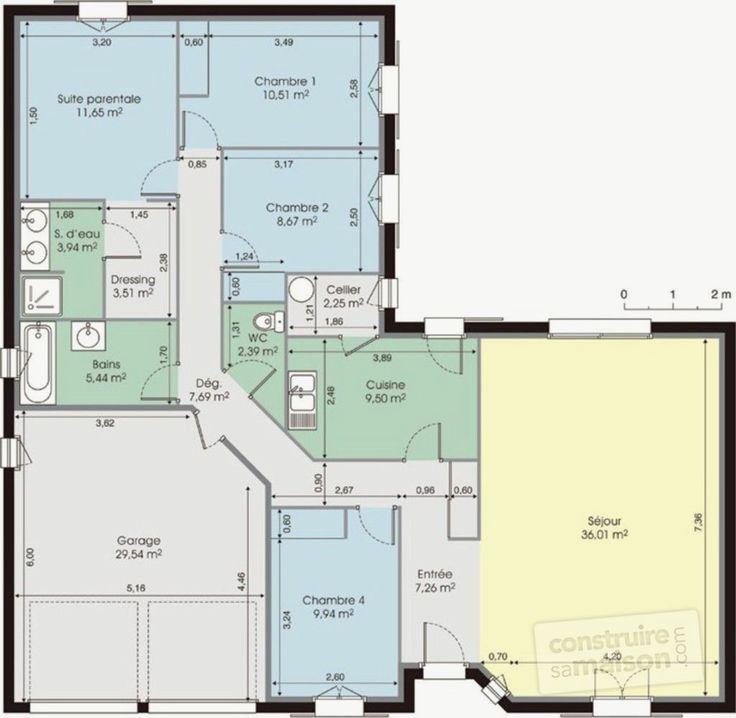 Plan Maison Plain Pied 200m2 Élégant Maison De Plain Pied Détail Du Plan De Maison De Plain en ...