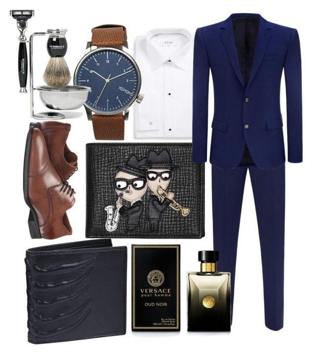 """Boyfriend"" by roxana97 on Polyvore featuring Alexander McQueen, Aquatalia by Marvin K., ETON, Dolce&Gabbana, Komono, D.R. Harris & Co Ltd., Versace, men's fashion and menswear"