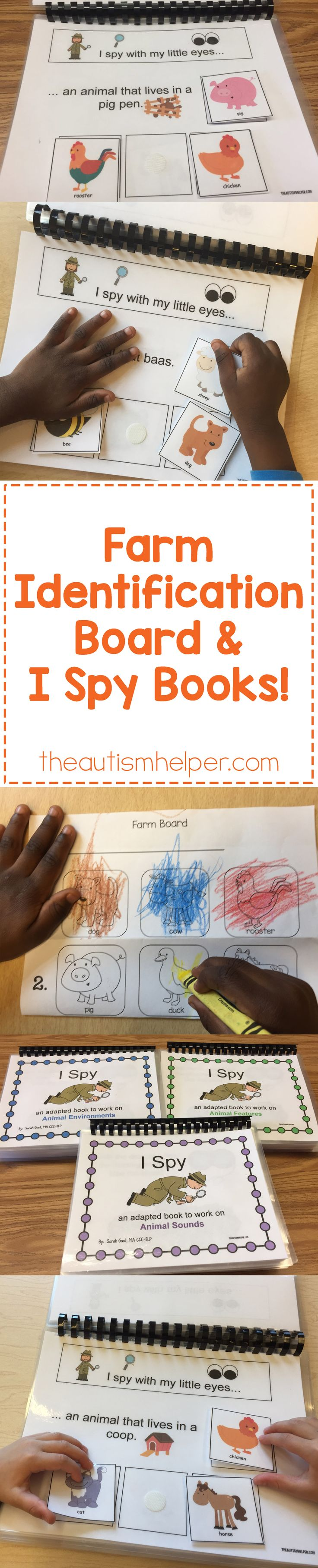 Finish out your week in speech therapy with Sarah's farm-themed Picture Identification Board & I Spy Books! Links to all available products on the blog!! From theautismhelper.com #theautismhelper