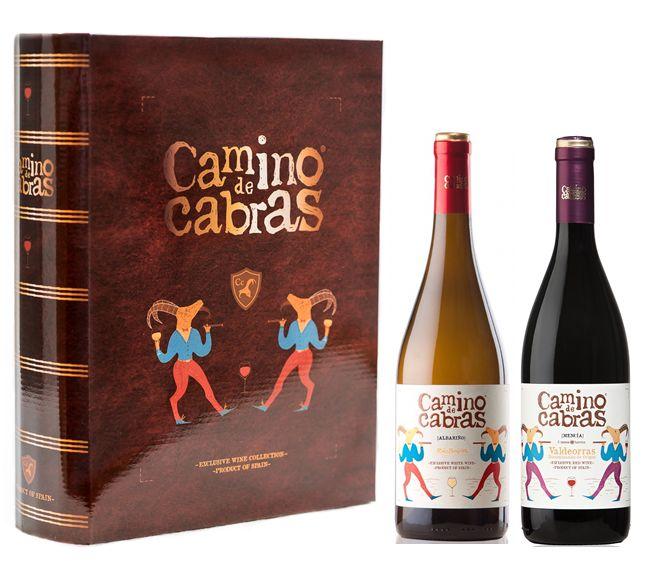 Estuche Gourmet Camino de Cabras. Albariño y Mencía Premium. Presentación singular en forma de libro antiguo para coleccionistas!