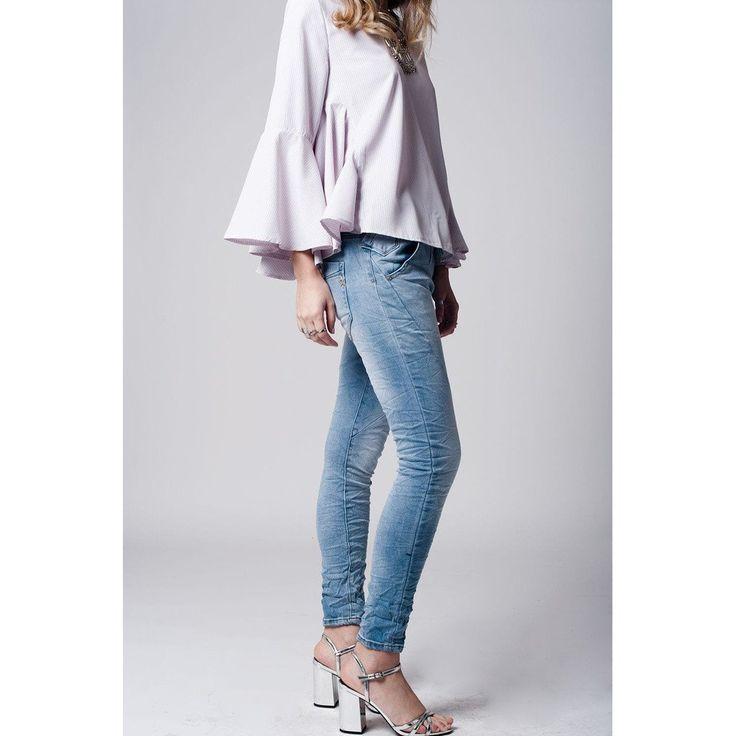 Light Denim Jeans With Tie Waistband