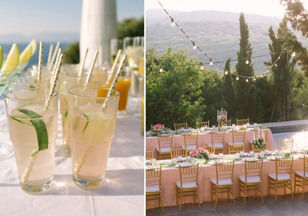 Refreshing lemon cocktail. Cocktail hour in Kefalonia with Stella and Moscha Weddings. Photo by Adrian Wood.