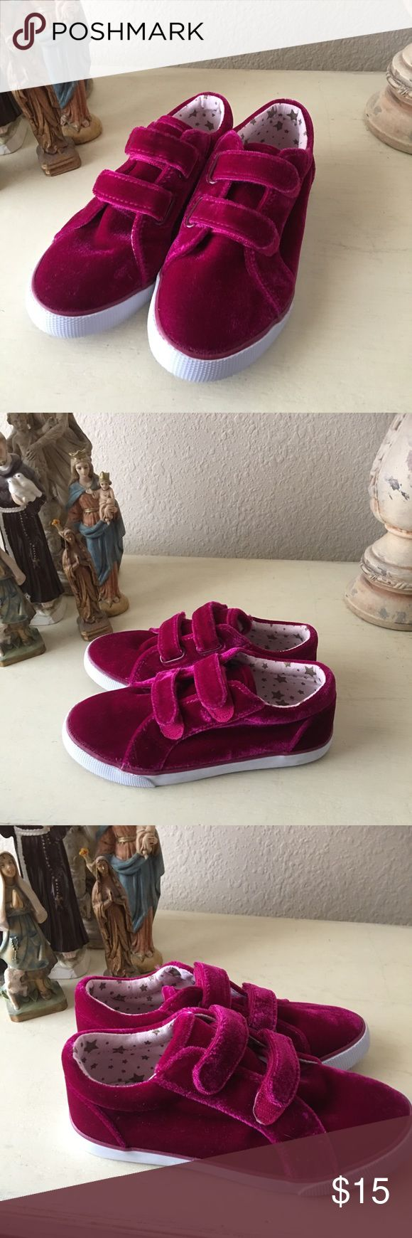 Cat & Jack Fuchsia Velvet Sneakers Super cool, Size 12. Girls Fuchsia Velvet Slip On Sneakers. Velcro straps for easy on and off. Great condition! Hot pink, magenta. Cat & Jack Shoes Sneakers