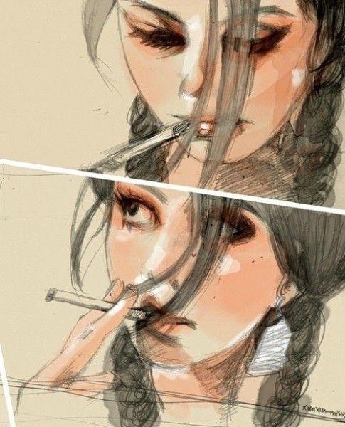 Картинки по запросу девушка с сигаретой рисунок