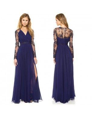 -tmavě modré dlouhé společenské šaty s rukávy M - Hollywood Style E-Shop