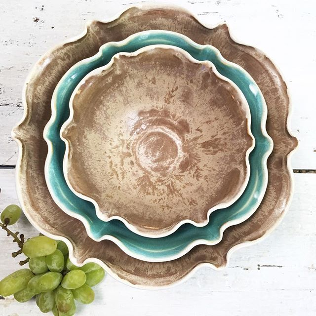 This gorg nesting bowl set in Turquoise and Chocolate Sorbet is shipping out tomorrow. Enjoy your new home beauties! by leewolfepottery