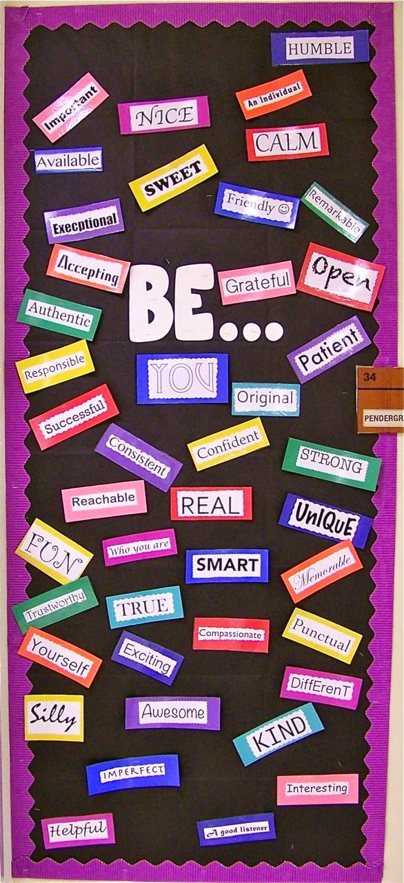 BE Board based on Dr. Susan Fuller's BE Yourself Board at Entirely Elementary blog.
