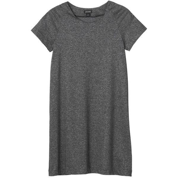 Monki Jamina dress ($20) ❤ liked on Polyvore featuring dresses, tops, vestidos, shirts, silvery, tee dress, glitter dress, monki, silver glitter dress and silver dress