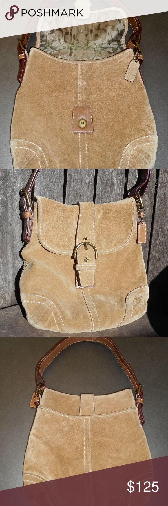 "very gently used coach satchel purse 12""w x 11""h and extremely well taken care of ultra suede Coach satchel purse. Open pocket on the back, and two sections and a zip pocket on the inside. Great looking purse, and finely crafted. You're gonna love this satchel! Coach Bags Satchels"
