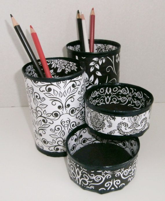 Desk Organizer / Pencil Holder made from upcycled cans via Etsy