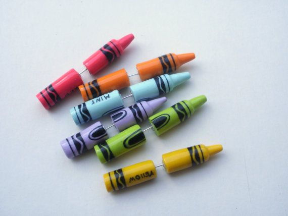 Crayons Fake Taper Earring Faux Gauge Color Crayons by Deceptions