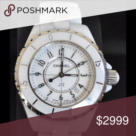 Chanel AUTHENTIC J-12 White 33mm Watch! In nice condition for a pre-owned piece. Looks beautiful- new bezel just put in. I do not have the box. POSH WILL AUTHENTICATE FOR FREE. THIS IS MY LOWEST SALE PRICE. PLEASE NO MORE LOW BALL OFFERS. CHANEL Jewelry