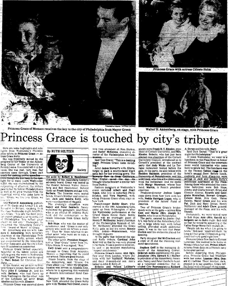 """""""Princess Grace is touched by city's tribute.""""  From The Philadelphia Inquirer; Friday, April 2nd, 1982, Section C Page 6.  Princess Grace died 5 months later in Monaco."""