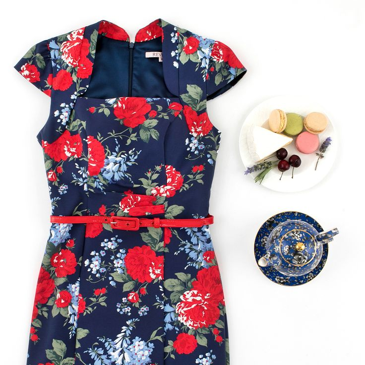 Daydream Floral Dress | Navy and Multi | Flatlay