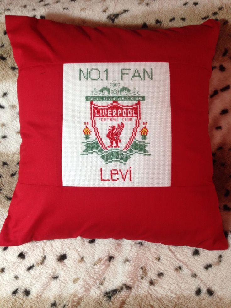 Cross stitch Liverpool FC cushion