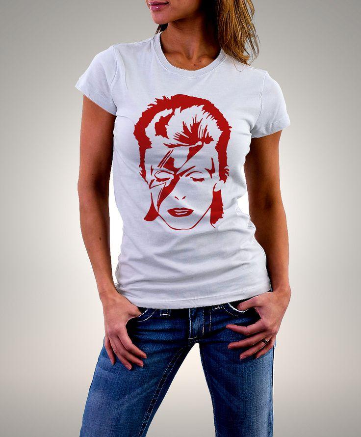 """david bowie - t shirt david bowie - T shirt femme coton biologique """" red bowie""""…"""