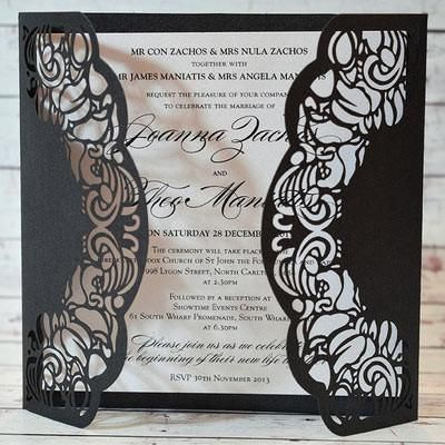 Butterfly Black - Beautiful Black Laser Cut Cover Wedding Invitation