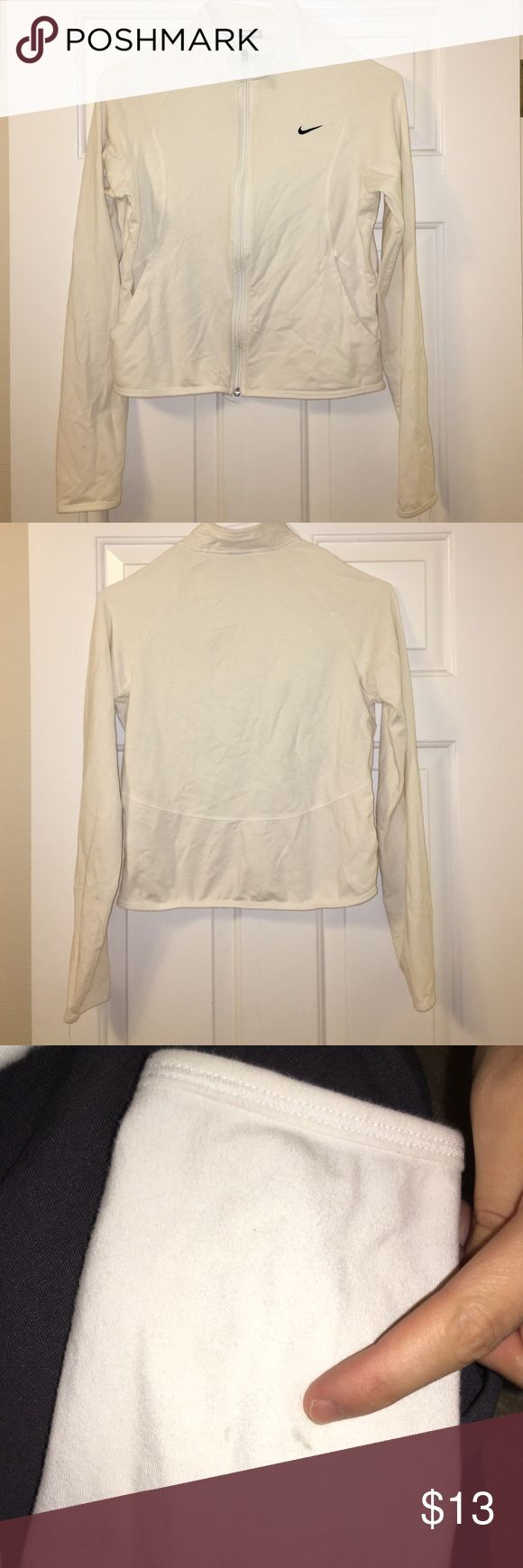 Nike Sweatshirt White ish/ cream•zip up•Nike•size medium•has a tiny mark on the sleeve• Nike Tops Sweatshirts & Hoodies