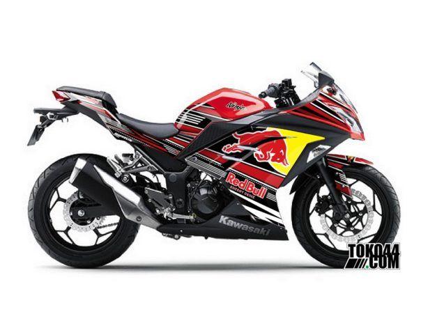 Decal Sticker Modifikasi Kawasaki Ninja 250 Fi ABS Merah - Redbull Red