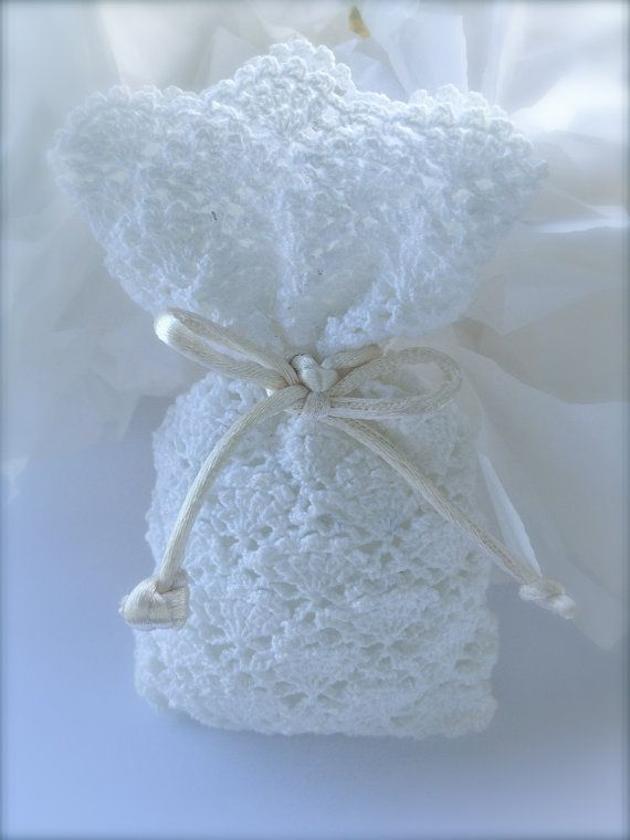 Crochet wedding favor Baby shower White bag by LeCrochetdOr
