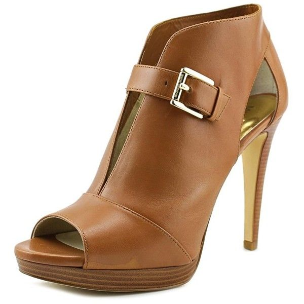 Michael Michael Kors Michael Michael Kors Isabella Bootie Women... (2,065 MXN) ❤ liked on Polyvore featuring shoes, boots, ankle booties, ankle boots, khaki, tan open toe booties, open toe booties, leather ankle boots, tan leather boots and open toe ankle boots