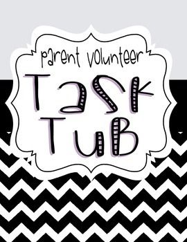 "Get parents involved with this engaging ""Parent Task Tub"" package.  The set includes the following:- Task Tub Set-Up and Starter Directions- 30 Task Cards with ideas for parent volunteer jobs- 2 EDITABLE Task Cards to fill in with your own ideas- Volunteer Time Card- Parent Volunteer Form - 2 EDITABLE Home Volunteer Note Requests- Parent Volunteer Sign-Up Sheet- Volunteer Info Page to let parents know why their involvement is SO important!- EDITABLE Parent Volunteer Record Binder Page…"