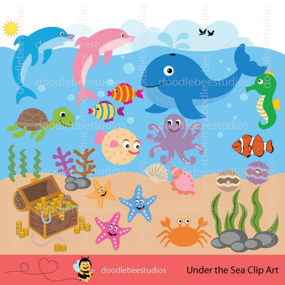Sea Life Clipart Sea Creatures Clip Art by doodlebeestudios