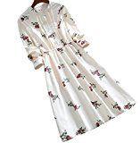 #7: ELPIS レディース ファッション ロング スカート ドレス 春 秋 ワンピース 花柄 ラウンドネック ボタン レトロ コットン プリント 長袖 ベージュ S M L XL 2XL サイズ