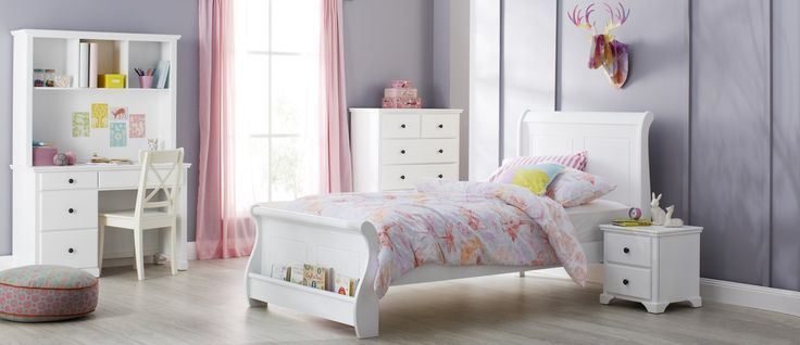 Available in crisp white, the Florence suite will soften any room with its smooth curved lines. The sleigh bed comes complete with a convenient book shelf nestled at the bed's foot.  Available in Single and King Single.