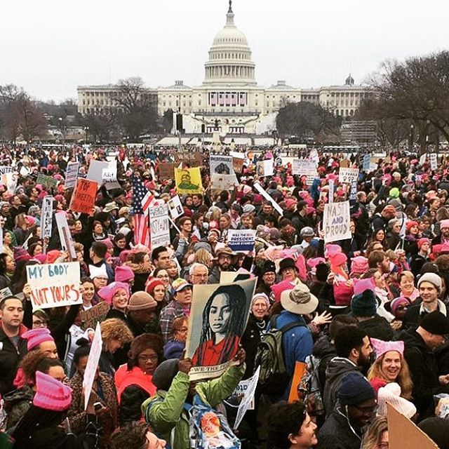 """On the first day of Donald Trump's presidency, women from all over the world in more than 20 countries rose up and marched for their rights! It makes me so proud to be a woman and to be witnessing history in the making. It doesn't matter what age, race or religion you are, undivided we can accomplish anything! """"To all the little girls... Never doubt that you are valuable and powerful and deserving of every chance in the world to pursue your dreams."""" - Hillary Clinton #womensmarch…"""